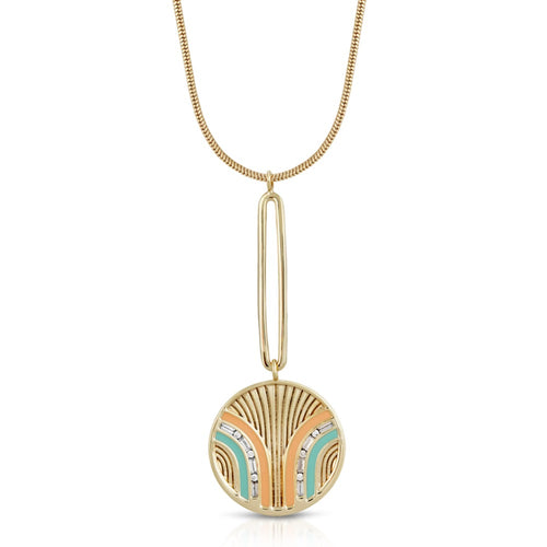 South Beach Pendulum Necklace - Coral/Mint