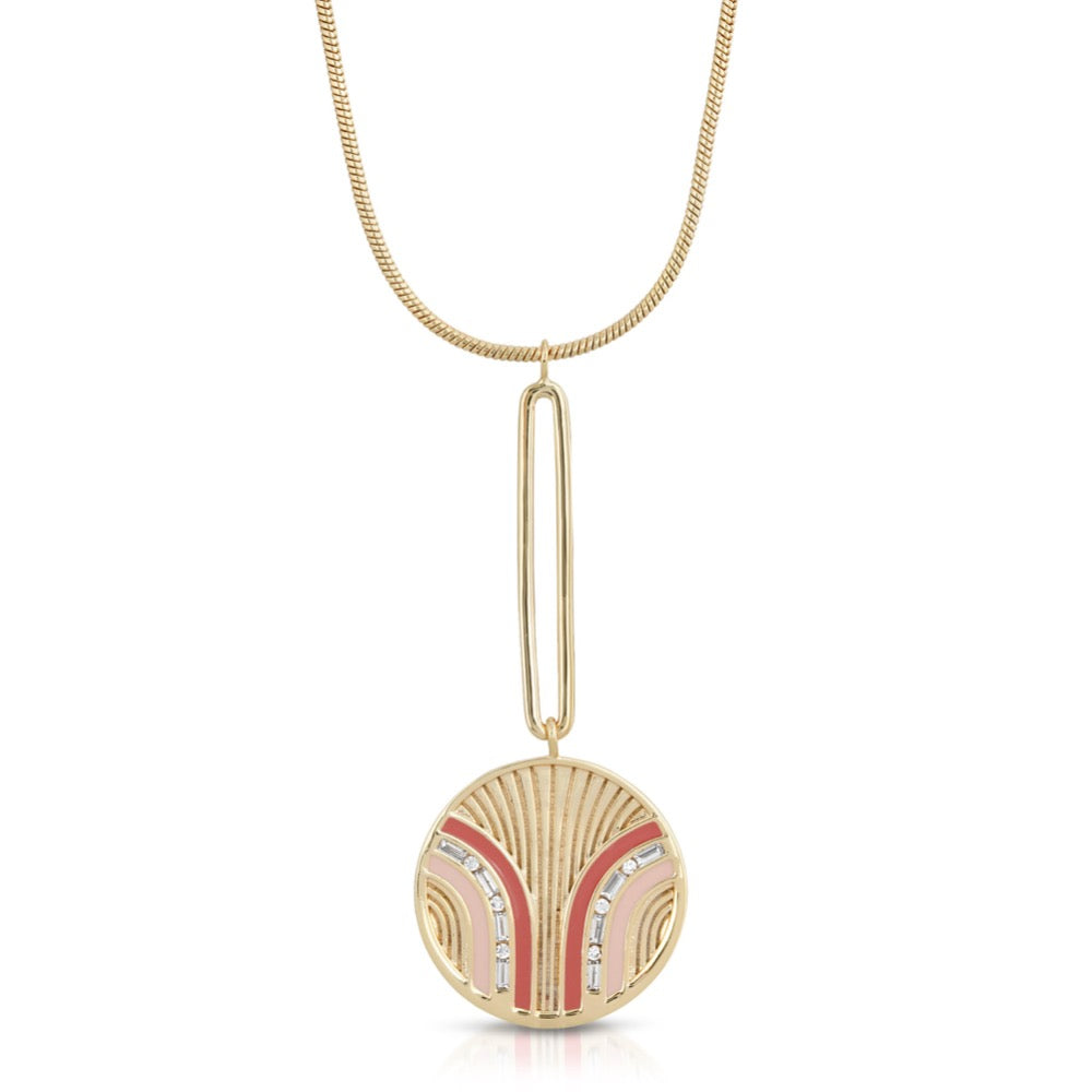 South Beach Pendulum Necklace - Coral/Cinnamon