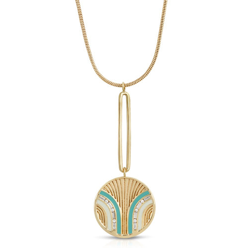 South Beach Pendulum Necklace - Turquoise/White