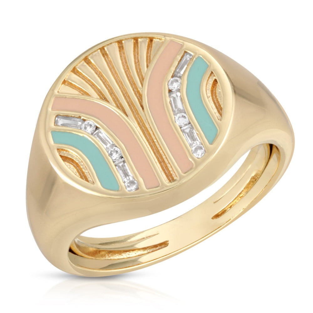 South Beach Signet Ring - Coral/Mint