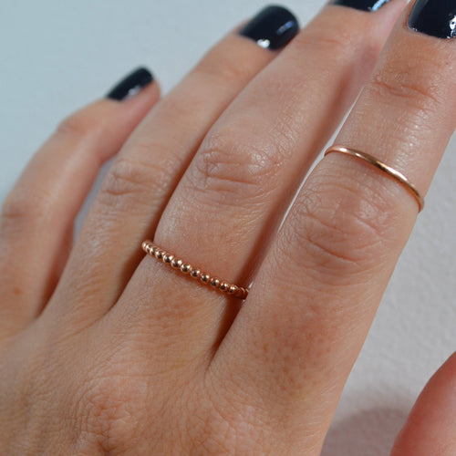 Beaded Stacking Ring, Gold, Rose Gold, or Silver