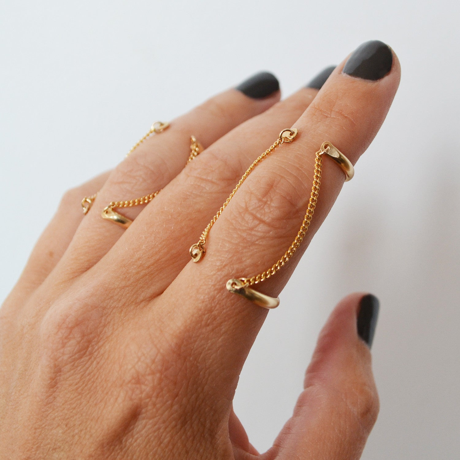 Double Chain Cuff Ring, Gold or Silver