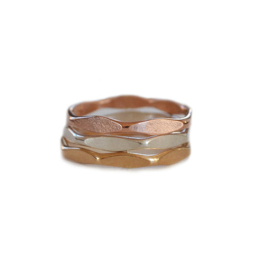 Faceted Ring, Gold, Rose Gold, or Silver