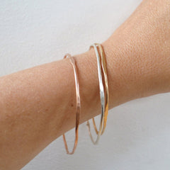 Wave Bangle Bracelet, Gold, Rose Gold, or Silver