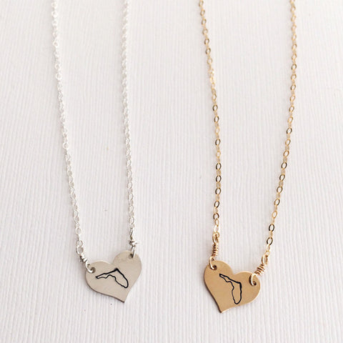 Stamped love Florida heart necklace in sterling silver or 14k gold filled by Blossom and Shine