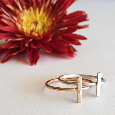 Dainty hammered bar stacking ring in sterling silver or 14k gold filled by Blossom and Shine