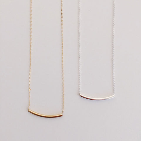 14k gold filled and sterling silver curved bar necklace