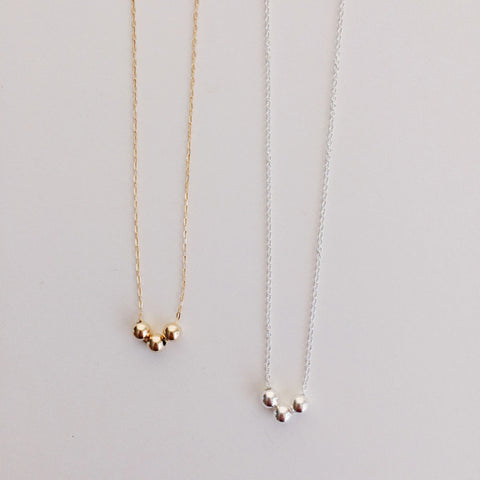 14k gold filled and sterling silver tiny beads necklace