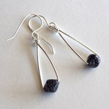 black paper bead earrings