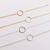 14k gold filled and sterling silver hammered circle bracelets