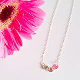 Dainty hammered circles adjustable choker necklaces in sterling silver or 14k gold filled by Blossom and Shine