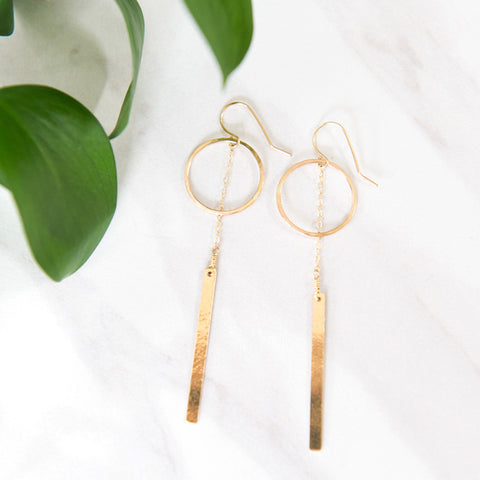 Circle bar dangle earrings in sterling silver or 14k gold filled by Blossom and Shine