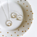 Mixed metal circle dot necklace in sterling silver and 14k gold filled by Blossom and Shine