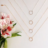 Dainty hammered circle necklace in mixed metals or sterling silver or 14k gold filled by Blossom and Shine