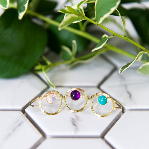 Open circle ring with gemstone in sterling silver or 14k gold filled by Blossom and Shine