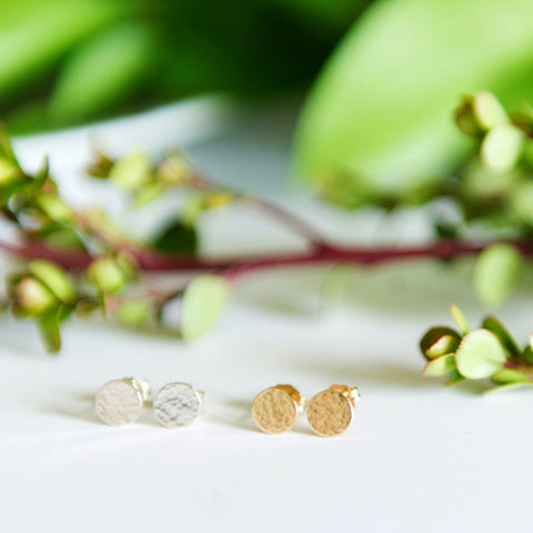 Dainty hammered circle stud earrings in sterling silver or 14k gold filled by Blossom and Shine
