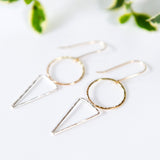 Mixed metal circle triangle geometric earrings in sterling silver or 14k gold filled by Blossom and Shine