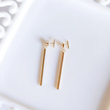 Dangle back bar stud earrings in sterling silver or 14k gold filled by Blossom and Shine