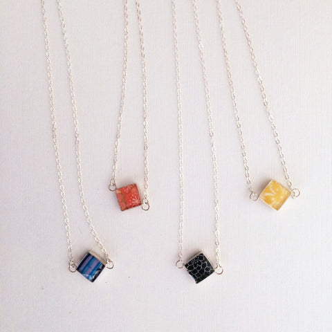 Square paper bead necklace in sterling silver or 14k gold filled by Blossom and Shine