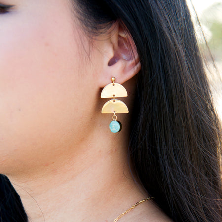 Double crescent moon earrings with paper bead in sterling silver or 14k gold filled and 10 color options by Blossom and Shine