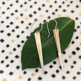 Mixed metal triangle spike earrings in sterling silver and 14k gold filled by Blossom and Shine