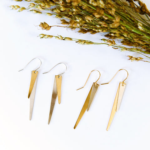 Mixed Metal Triangle Spike Earrings