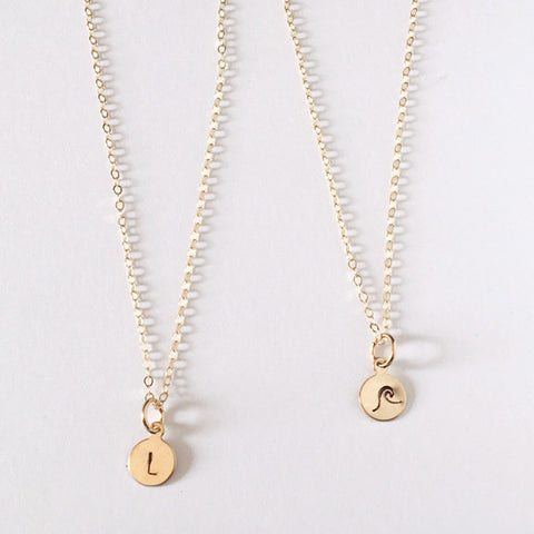 Personalized stamped charm necklace with letter or symbol in 14k gold filled by Blossom and Shine