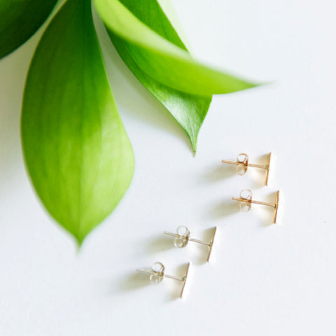 Dainty hammered bar staple earrings in sterling silver or 14k gold filled by Blossom and Shine
