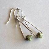 green paper bead earrings