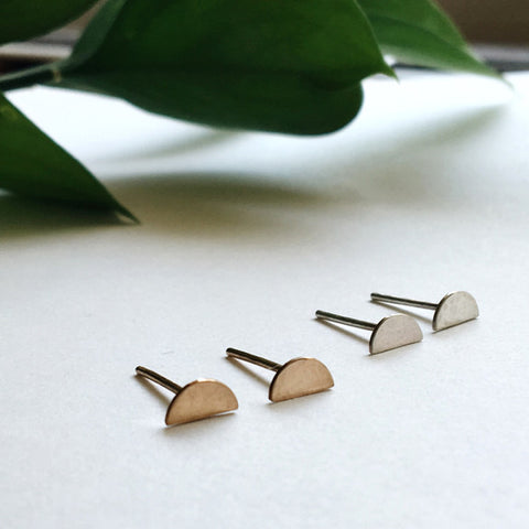 Hammered Half Circle Stud Earrings