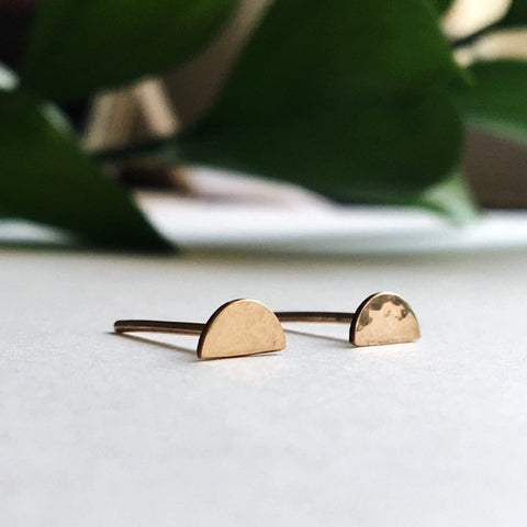 Dainty hammered half circle crescent moon stud earrings in sterling silver or 14k gold filled by Blossom and Shine
