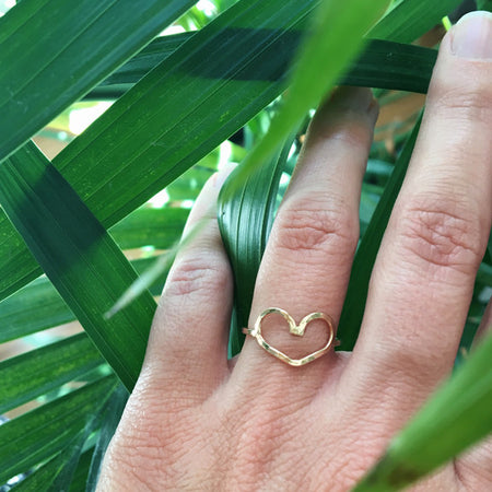 Dainty open heart ring in sterling silver or 14k gold filled by Blossom and Shine