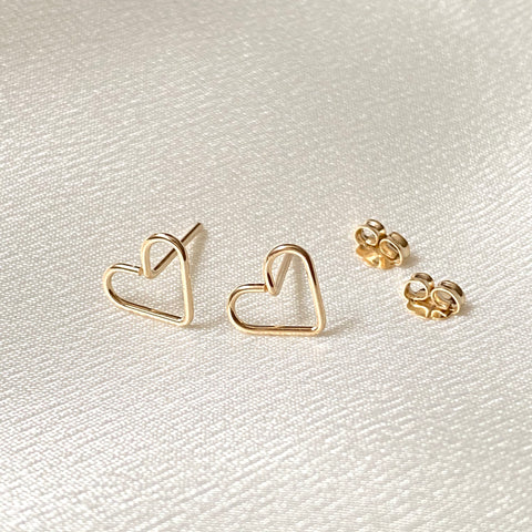 Open heart stud earrings in sterling silver or 14k gold filled by Blossom and Shine