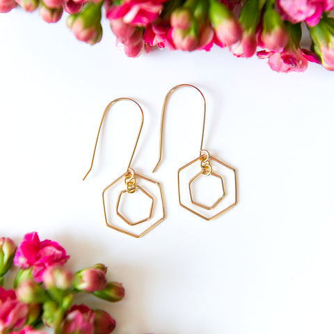 Double open geometric hexagon earrings in sterling silver or 14k gold filled by Blossom and Shine