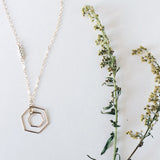 Double open geometric hexagon necklace in sterling silver or 14k gold filled mixed metals by Blossom and Shine