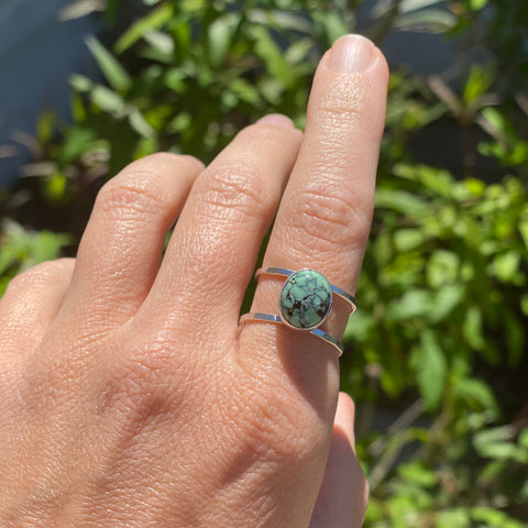 One of a kind lander turquoise ring size 7.5 in sterling silver by Blossom and Shine