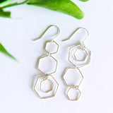 Asymmetrical hexagon earrings in sterling silver or 14k gold filled by Blossom and Shine