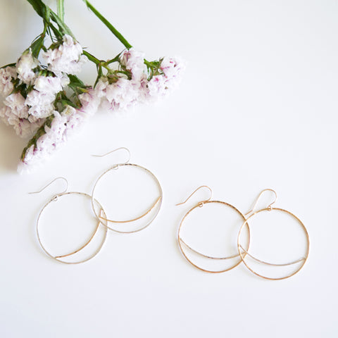 Mixed Metal Large Circle Earrings