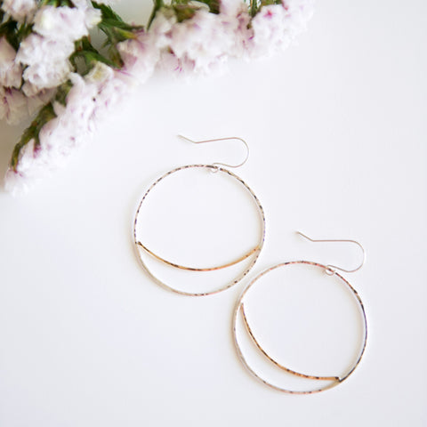 Mixed metal large circle earrings in sterling silver or 14k gold filled by Blossom and Shine