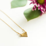 Mixed metal little triangle necklace in sterling silver or 14k gold filled by Blossom and Shine