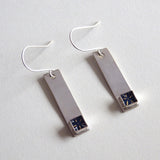 navy silver bar earrings