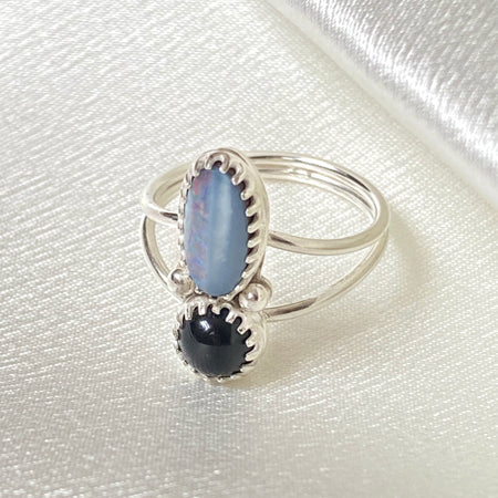 Opal and Onyx Ring SIZE 7.5