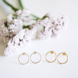 Hammered open circle stud earrings in sterling silver or 14k gold filled by Blossom and Shine