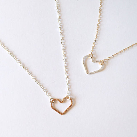 Mixed metal open heart necklace in sterling silver or 14k gold filled by Blossom and Shine