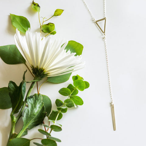 Geometric open triangle long y necklace in sterling silver or 14k gold filled by Blossom and Shine