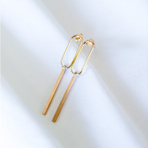 Opposites attract oval bar stud earrings in sterling silver or 14k gold filled by Blossom and Shine