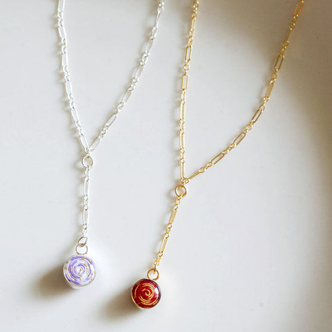 Lariat choker necklace with paper bead in 10 color options and sterling silver or 14k gold filled by Blossom and Shine