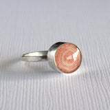 peach coiled paper bead ring