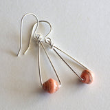 peach paper bead earrings