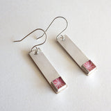 peach silver bar earrings
